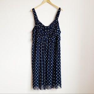 navy stretch mesh sweetheart knee length dress
